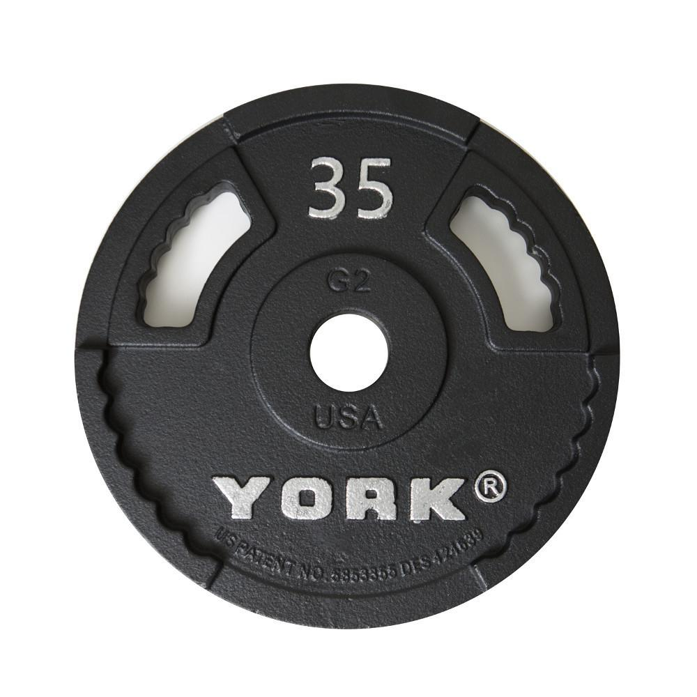 York Barbell G-2 Olympic Dual Grip Thin Line Cast Iron Plate