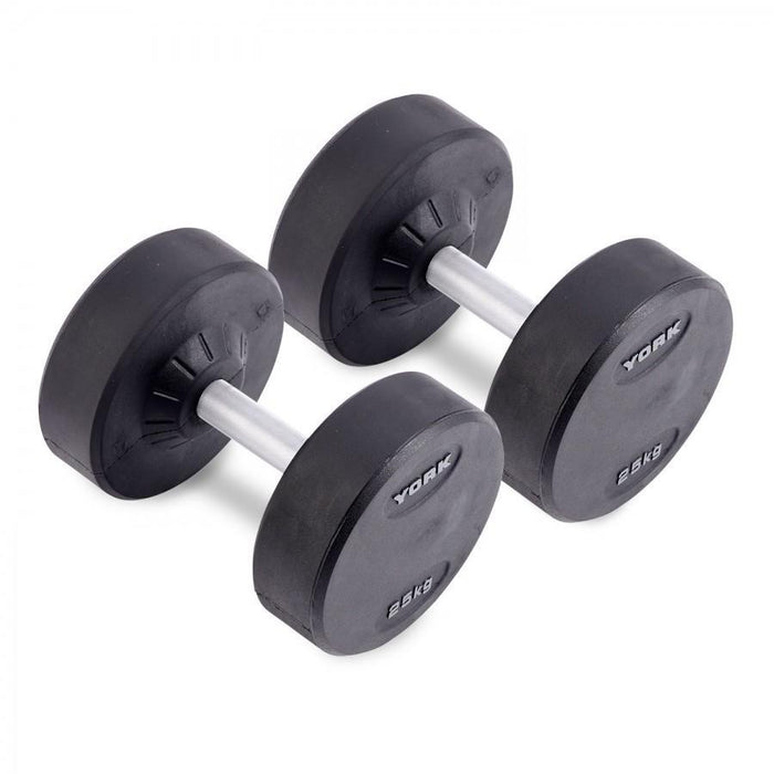 York Commercial Round Rubber Dumbbells from 5 to 150 lbs