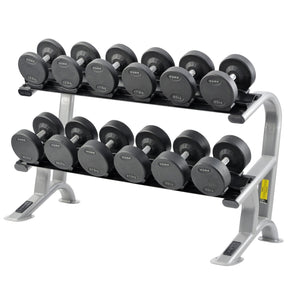 York Pro Style Rubber Dumbbells Shown on York Rack.
