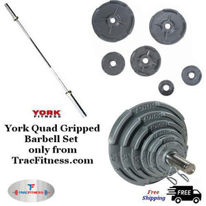 York Quad Gripped Olympic Weight with needle bearing bar