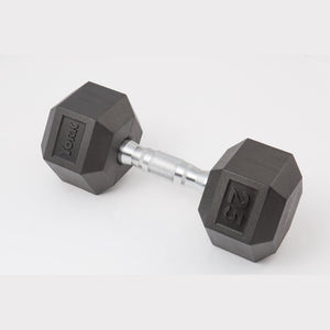 York 25 lb dumbbell sideways.