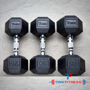 York Rubber Hex 25, 30, and 35 lb dumbbells.