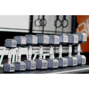 York Rubber Hex Dumbbells at Crossfit Gym.