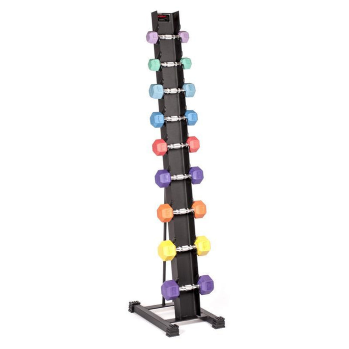 York Rubber Hex Sindle Vertical Dumbbell Storage Rack