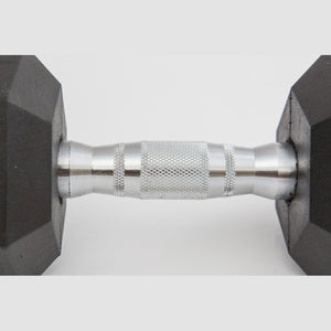 York rubber hex dumbbell countoured handle.