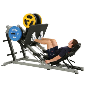 York STS 35 Degree Leg Press shown with weights