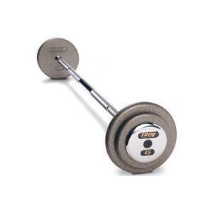 Troy 45lb Pro Style Straight Barbell with a hammertone gray finish and chrome end cap.