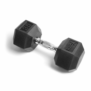 Single 35 lb York Rubber Hex dumbbell.