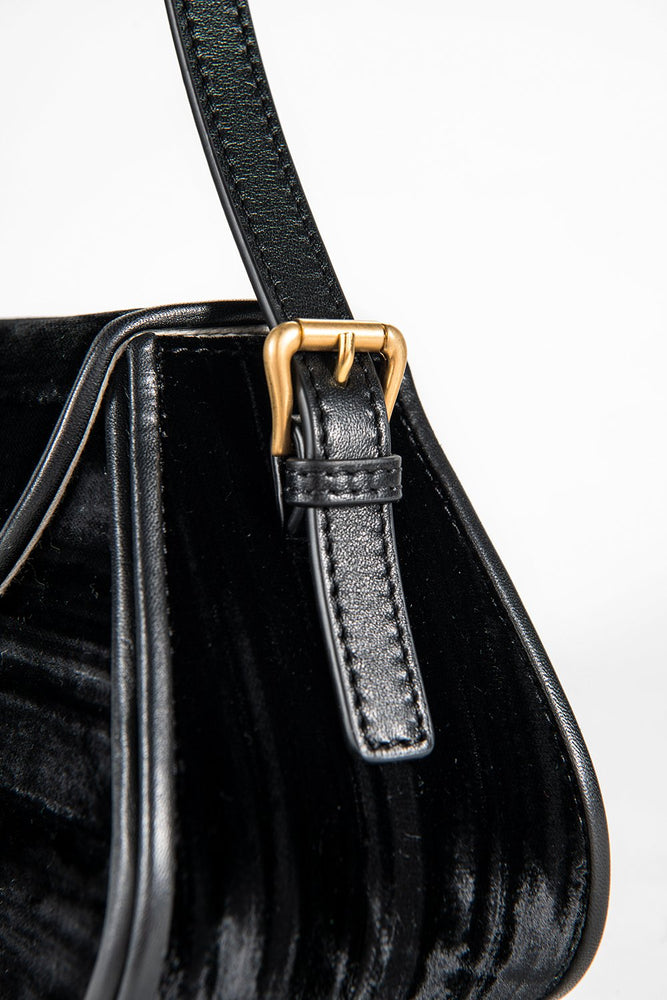 BY FAR Uma Bag Black Crushed Velvet