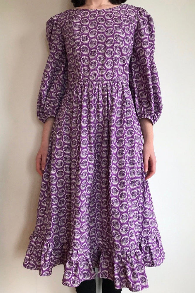 Batsheva Peasant Dress Purple Leaf Print