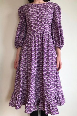 Batsheva Peasant Dress Purple Leaf Print Dresses