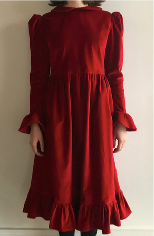 Batsheva Peter Pan Dress Red Velvet Dresses