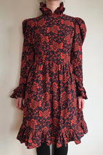 Batsheva Prairie Dress Red Grape Print