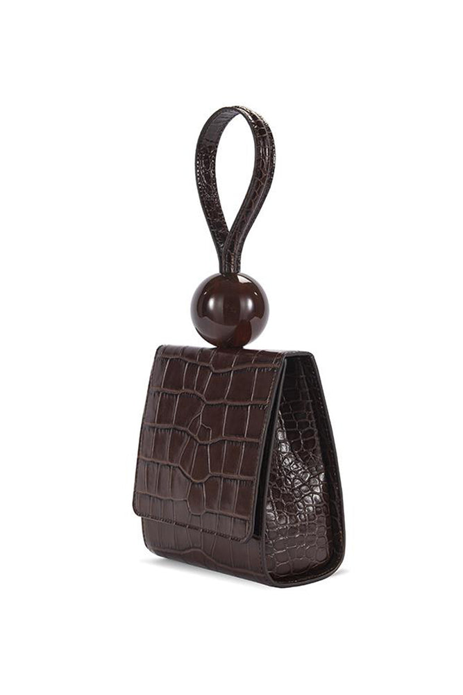 BY FAR Ball Bag Nutella Croco Embossed Leather