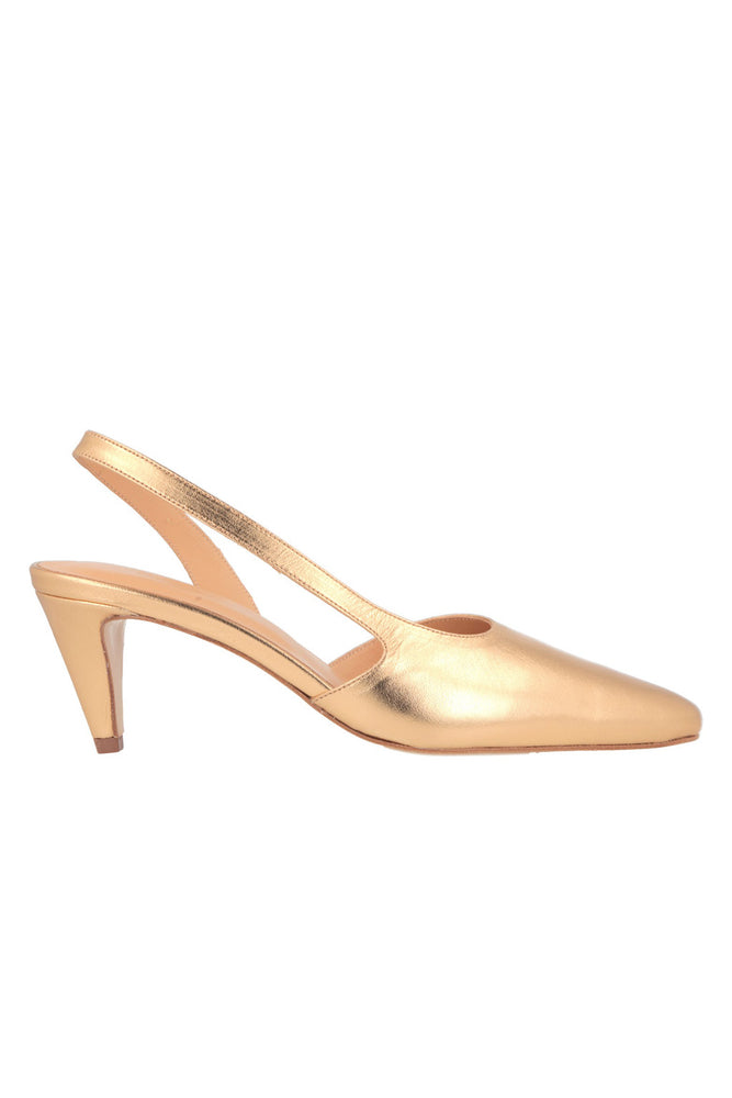 BY FAR Laura Heels Gold Leather