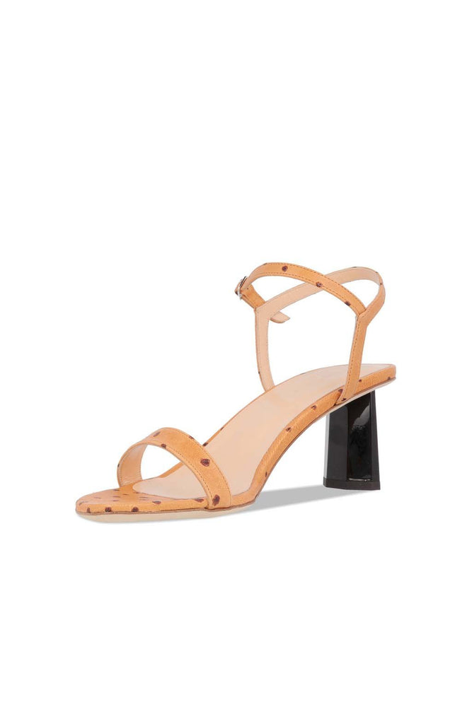 By Far Magnolia Sandals Nude Ostrich Embossed Leather Shoes