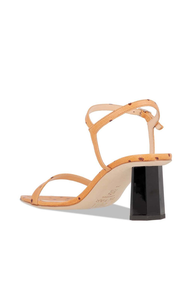 BY FAR Magnolia Sandals Nude Ostrich Embossed Leather
