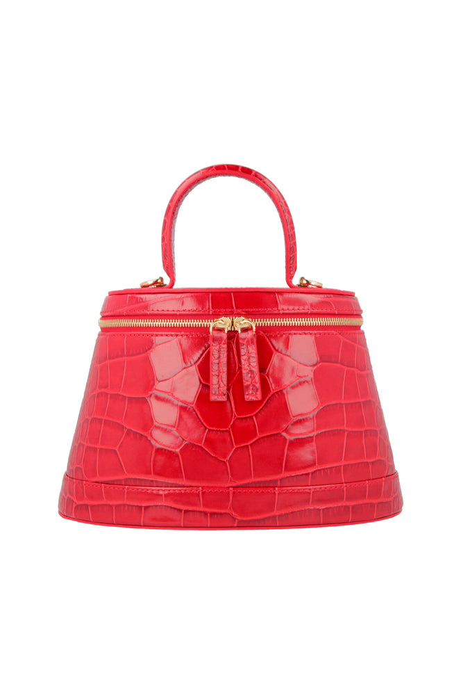 By Far Annie Bag Red Croco Embossed Leather