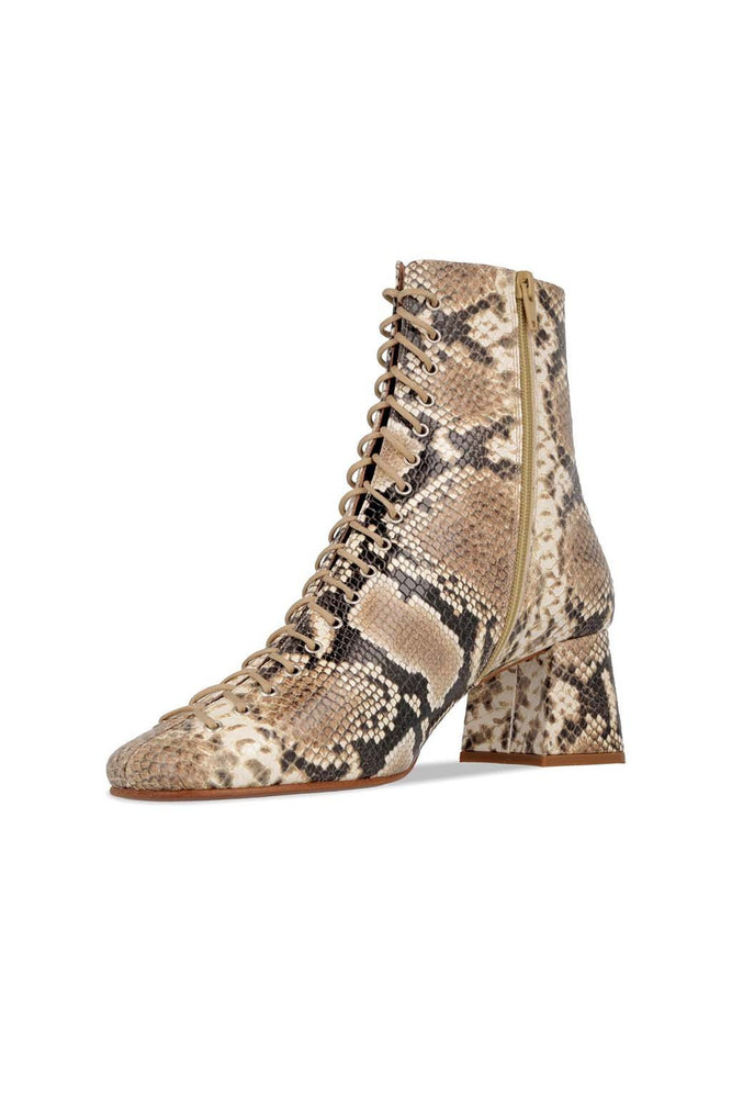 By Far Becca Boots Snake Print Leather Shoes