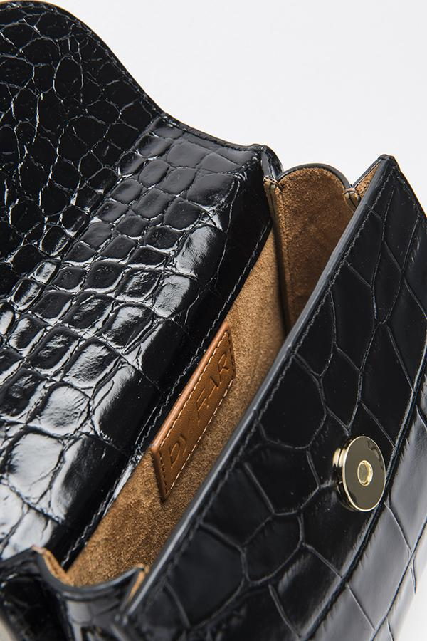 By Far Mini Black Croco Embossed Leather Bag