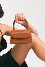 By Far Mini Caramel Patent Leather Bag