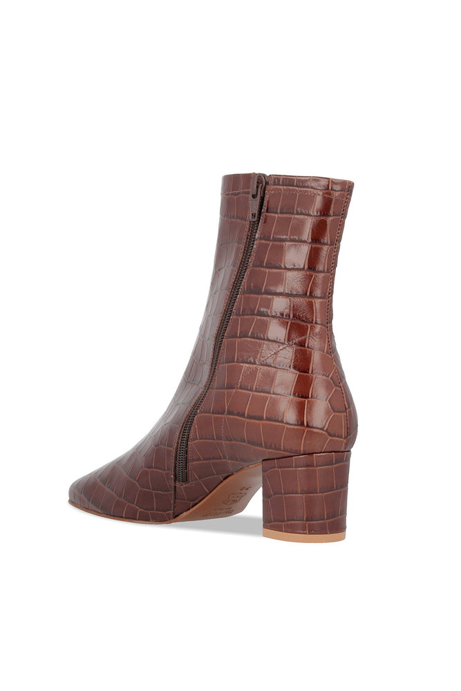 By Far Sofia Boots Nutella Croco Embossed Leather