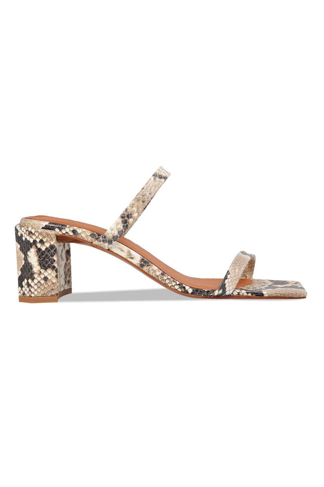 Load image into Gallery viewer, BY FAR Tanya Sandals Snake Print Leather
