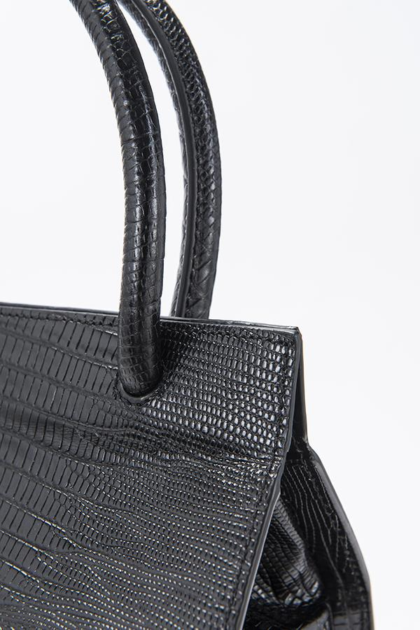 By Far Val Black Lizard Embossed Leather Bag