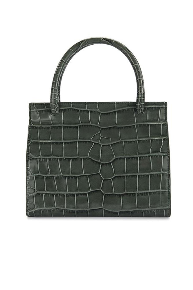 By Far Val Green Croco Embossed Leather Bag