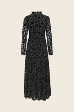 Stine Goya Judy Maxi Dress Silk & Velvet Devore Black