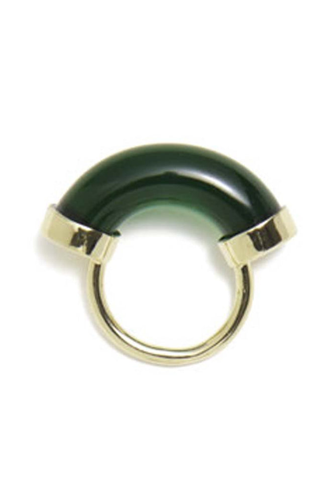 Lady Grey Fraction Lucite Ring Emerald