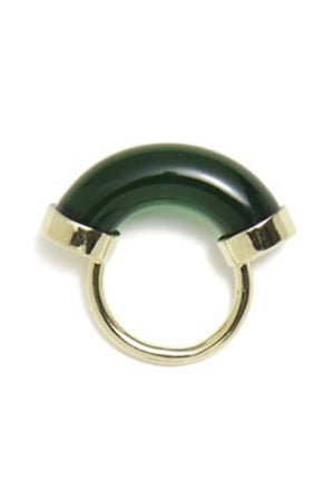 Lady Grey Fraction Lucite Ring Emerald Jewelry