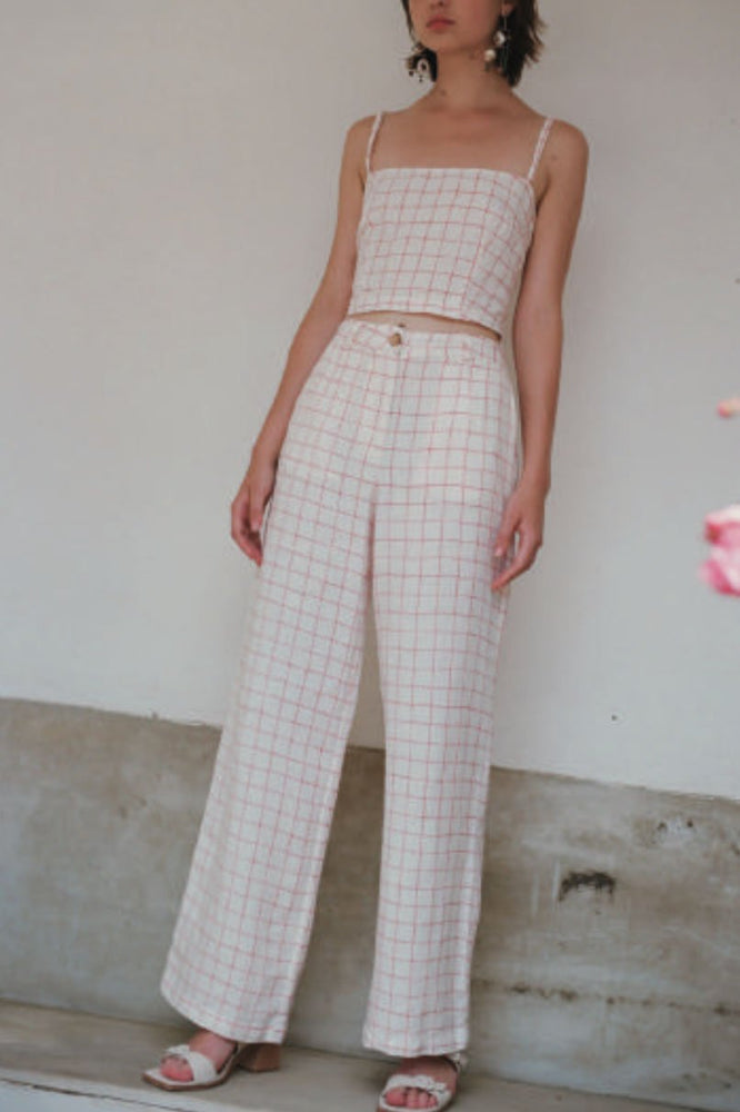 Paloma Wool Margherita Linen Checked Pants Bottoms