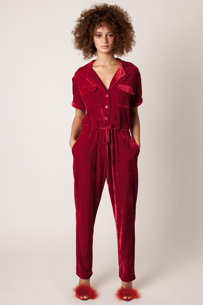 Rachel Antonoff Jewel Jumpsuit Red Holly Berry