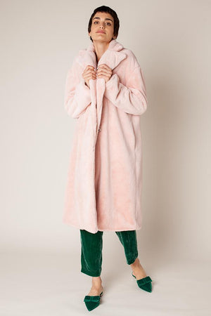 Rachel Antonoff Prudence Faux Fur Coat Powder Pink