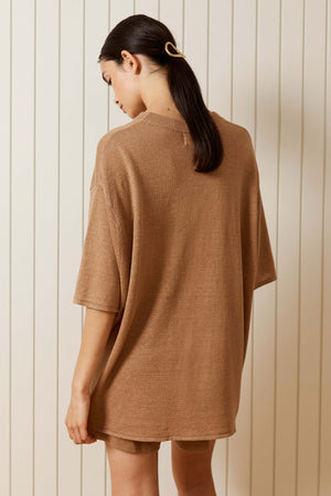 Load image into Gallery viewer, St. Agni Copain Knit Linen Tee Almond