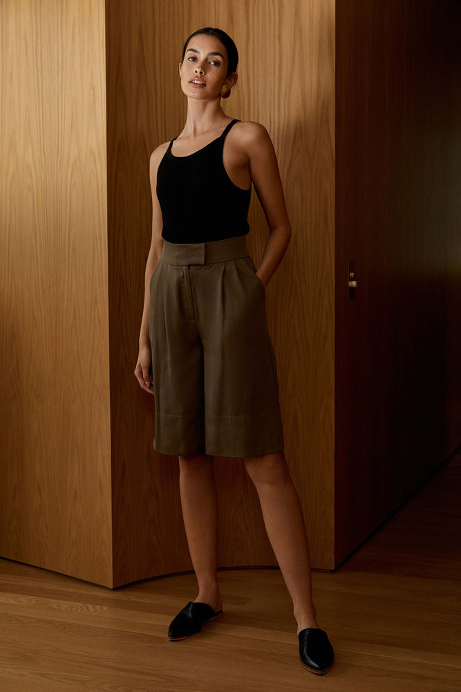 Load image into Gallery viewer, St. Agni Ode Tencel Shorts Olive