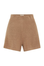 St. Agni Spencer Knit Linen Shorts Almond