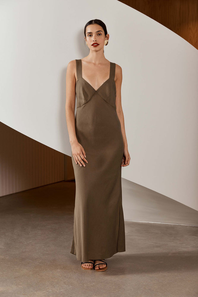 Load image into Gallery viewer, St. Agni Zoe Slip Dress Olive