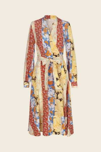 Stine Goya Reflection Silk Wrap Dress Floral Wallpaper