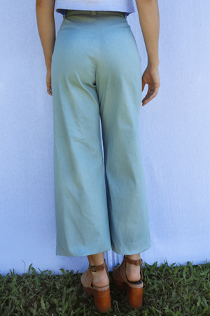 Load image into Gallery viewer, Sugarhigh Lovestoned Woody Wide Leg Pants Chambray Blue