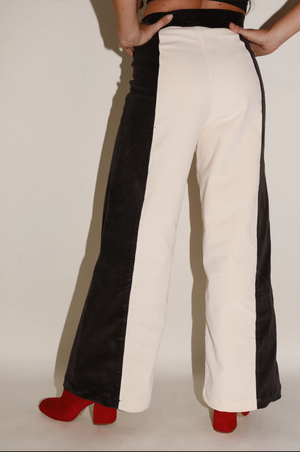 Load image into Gallery viewer, Sugarhigh Lovestoned Woody Wide Leg Pants Cream & Black Paneled Corduroy