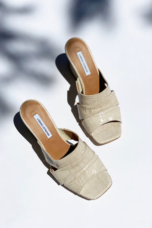 Safari Rice White Croco Wedge Heels