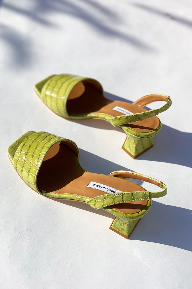 Joan Plant Green Croco Leather Slingback Sandals