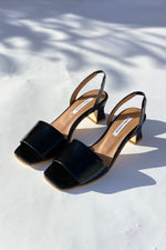 Joan Black Patent Leather Slingback Sandals