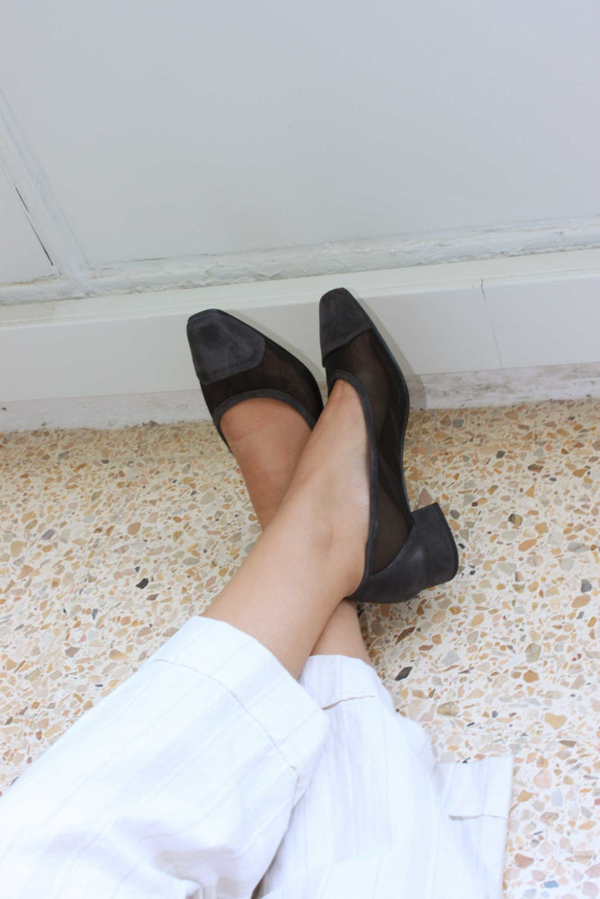 About Arianne Mina Black Mesh Pumps