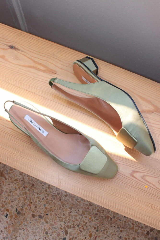 About Arianne Galo Beauty Dore Satin Slingbacks