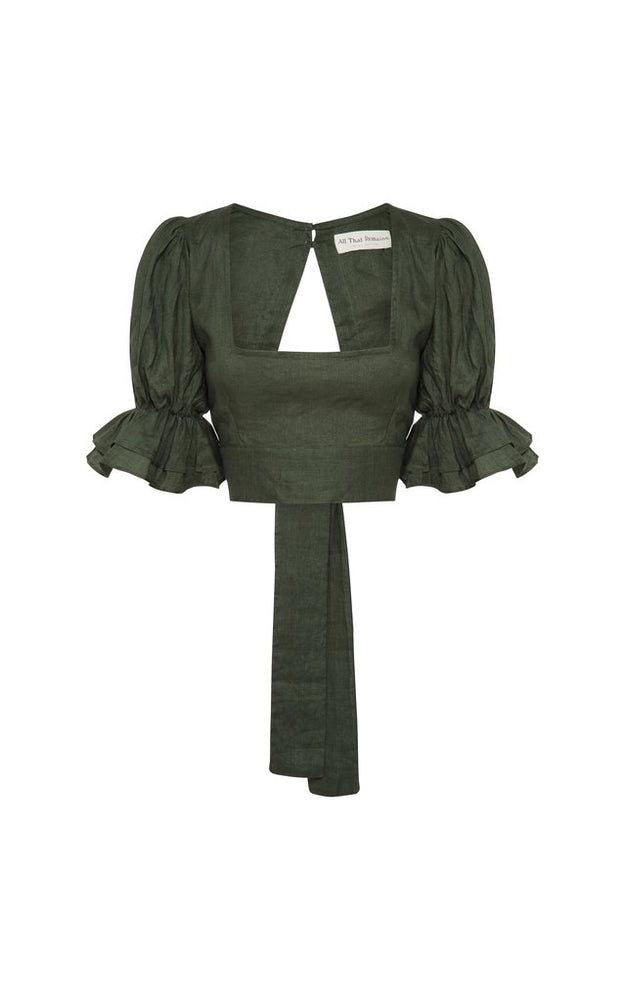 Annastasia Linen Top Forest Green