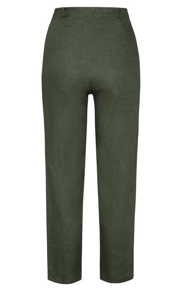 Isabel Linen Pants Forest Green