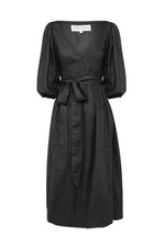 Lia Linen Midi Wrap Dress Black
